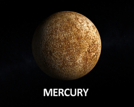 A rendering of the Planet Mercury on a slightly starry background with english caption.