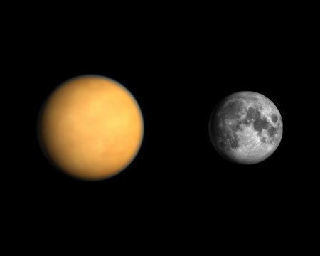 titan: A comparison between the Saturn Moon Titan and the Earth Moon on a clean black background. Stock Photo
