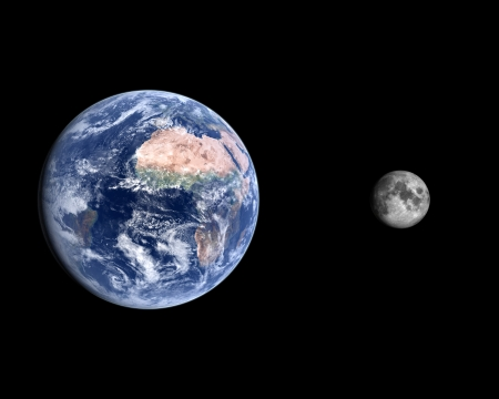 A comparison between the planet Earth and the Moon on a clean black background.