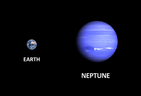 A comparison between the planets Earth and Neptune on a clean black background with english captions. photo