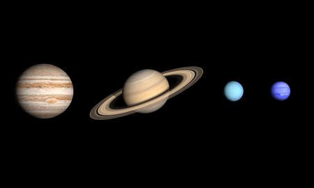 A comparison between the Gas Planets Jupiter, Saturn, Uranus and Neptune on a clean black . photo
