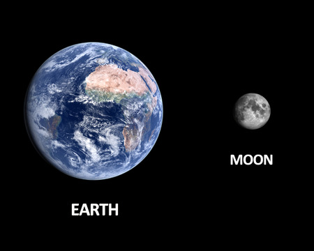 A comparison between the planet Earth and the Moon on a clean black with english captions. photo