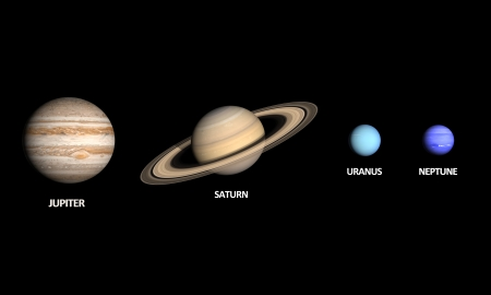 A comparison between the Gas Planets Jupiter, Saturn, Uranus and Neptune on a clean black with english captions. photo