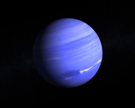 Eine Wiedergabe des Gas Planet Neptun auf einem Sternenhimmel.