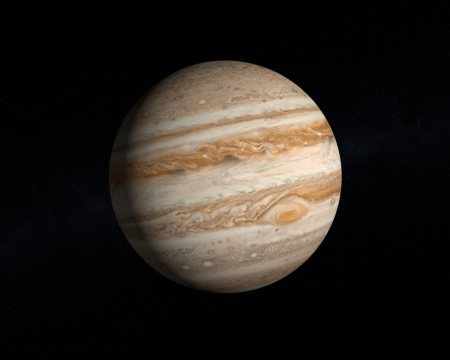 A rendering of the Gas Planet Jupiter on a slightly starry .