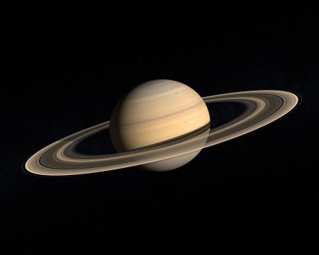 Eine Wiedergabe des Gas Planet Saturn mit seinen majestätischen Ringsystem auf einem etwas Sternen.