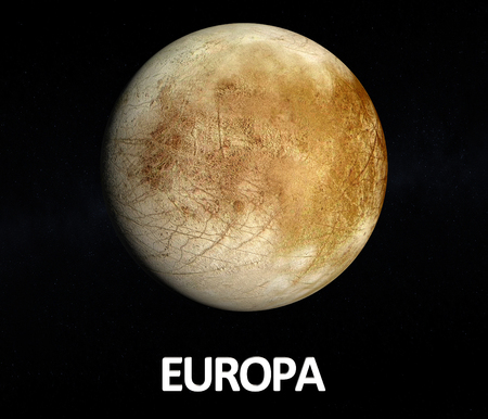 jupiter: A rendered Image of the Jupiter Moon Europa on a starry  with english caption. Stock Photo
