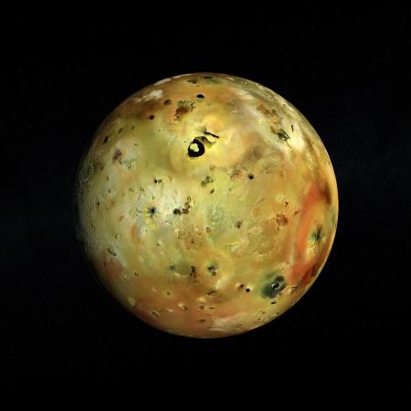 Eine gerenderte Bild des Jupiter Mond Io auf einem Sternenhimmel.