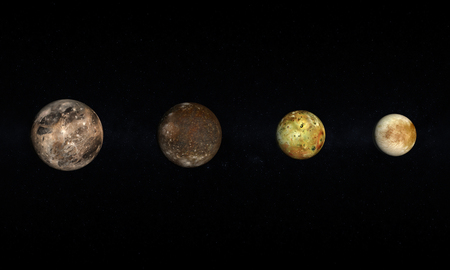 io: A rendered size comparison of the Jupiter Moons Ganymede, Callisto, Io and Europa on a starry .