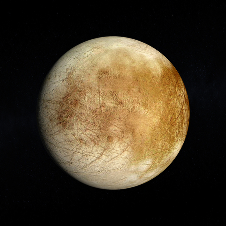 europa: A rendered Image of the Jupiter Moon Europa on a starry .