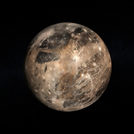 A rendered Image of the Jupitermoon Ganymede on a starry . 版權商用圖片