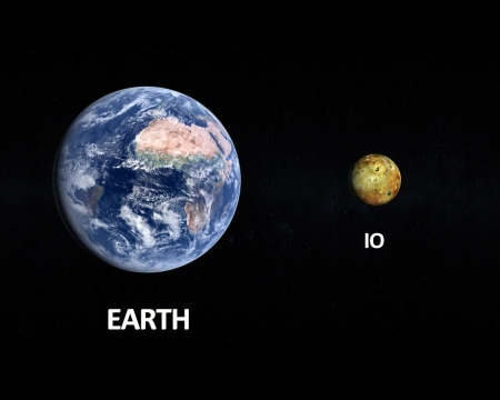 io: A rendered size comparison of the Jupiter Moon Io and Planet Earth on a starry with english captions. Stock Photo