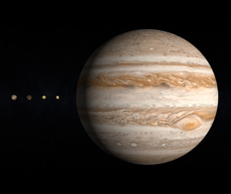 Eine gerenderte Größenvergleich der Planeten Jupiter und seine vier größten Monde Ganymed, Kallisto, Io und Europa auf einem Sternenhimmel.