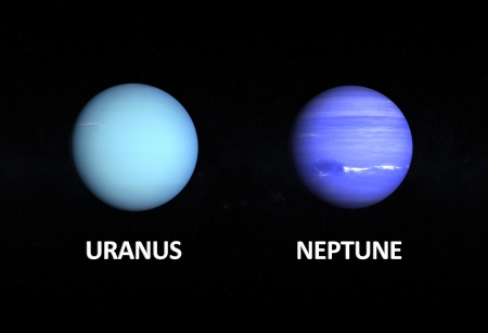 A comparison between the Gas Planets Uranus and Neptune on a starry background with english captions.