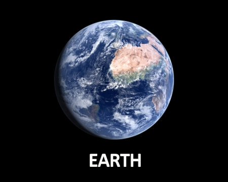 A photorealistic rendering of our Homeplanet Earth on a clean black background with english caption. photo
