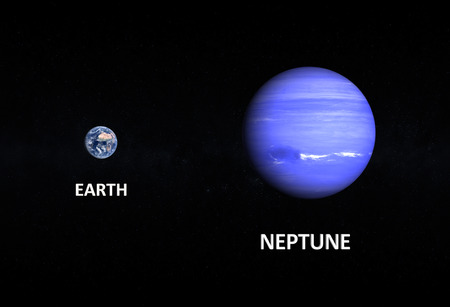 A comparison between the planets Earth and Neptune on a starry background with english captions. photo