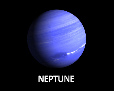 A rendering of the Gas Planet Neptune on a clean black background with english caption. photo