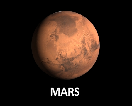 A rendering of the Planet Mars on a clean black background with english caption. photo