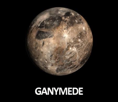 A rendered Image of the Jupitermoon Ganymede on a clean black background with english caption.