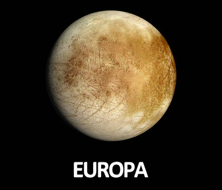 A rendered Image of the Jupiter Moon Europa on a clean black background with english caption.