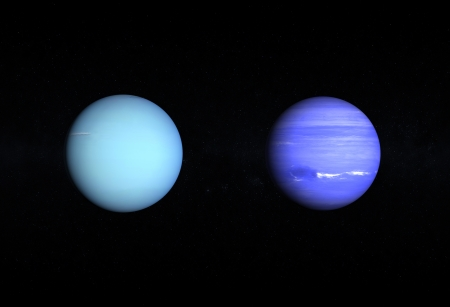 A comparison between the Gas Planets Uranus and Neptune on a starry background. photo