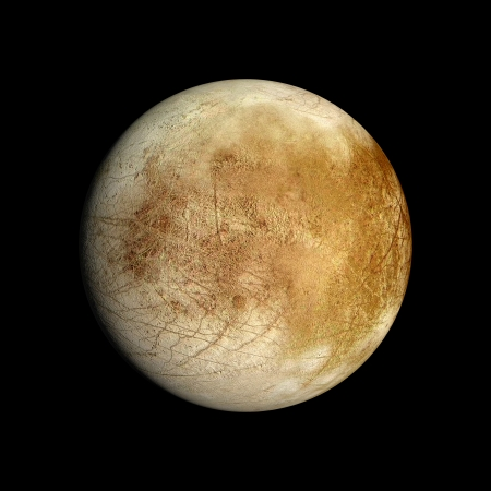 europa: A rendered Image of the Jupiter Moon Europa on a clean black background. Stock Photo