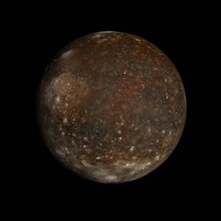 A rendered Image of the Jupiter Moon Callisto on a clean black background.