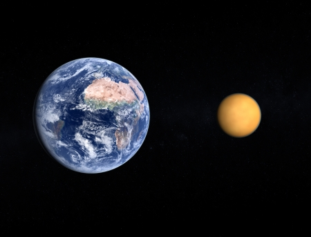 titan: A comparison between the planet Earth and the Saturn Moon Titan on a slightly starry background.