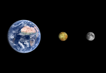 io: A rendered size comparison of the Jupiter Moon Io the Moon and Planet Earth on a clean black background. Stock Photo