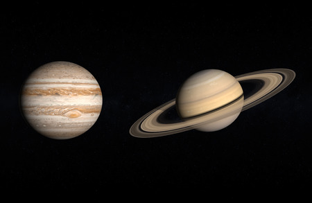 jupiter: A comparison between the Gas Planets Jupiter and Saturn on a starry background.