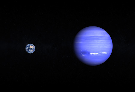 A comparison between the planets Earth and Neptune on a starry background. photo