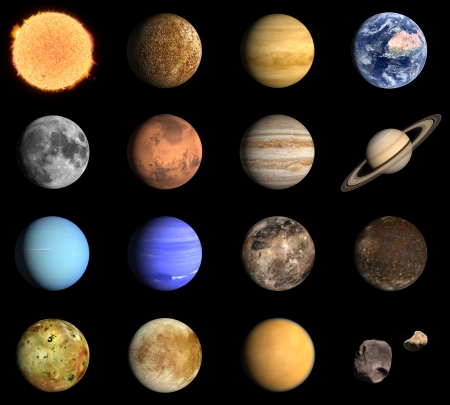 io: A rendered Image of the Planets and some Moons of our Solar System.