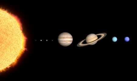 A rendered comparison of the Sun and the Planets Mercury, Venus, Earth, Mars, Jupiter, Saturn, Uranus and Neptune.