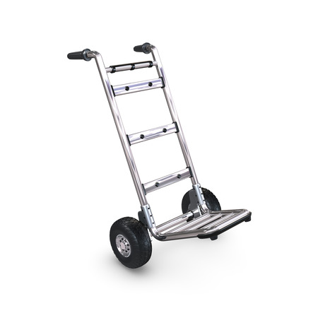handtruck: An empty Hand-Truck tilted on white background. Stock Photo