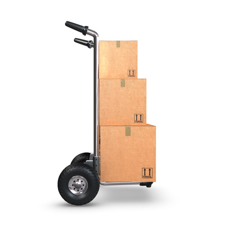 handtruck: A Hand-Truck with three cardboard boxes on white background standing upright.