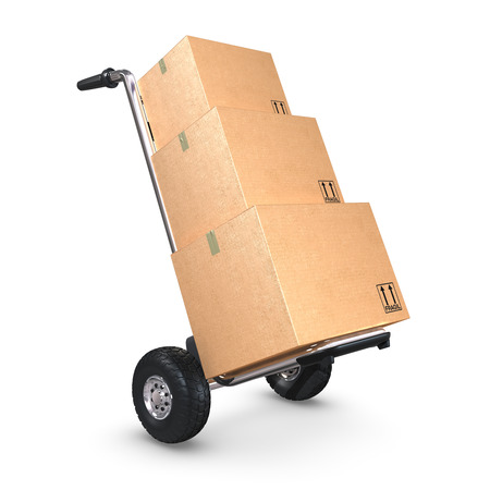 handtruck: A tilted Hand-Truck with three cardboard boxes on white background.
