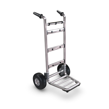 handtruck: An empty Hand-Truck on white background standing upright.