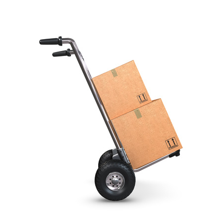 handtruck: A tilted Hand-Truck with two cardboard boxes on white background.