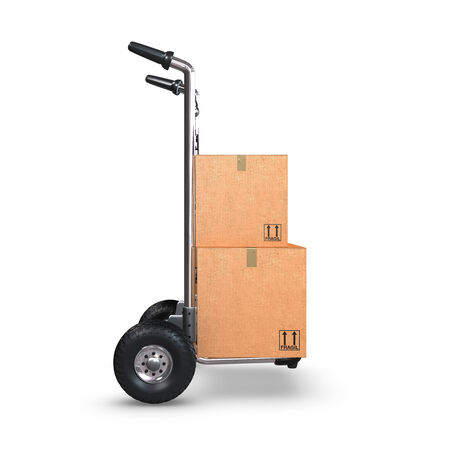 handtruck: A Hand-Truck with two cardboard boxes on white background standing upright.