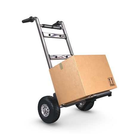 handtruck: A tilted Hand-Truck with a cardboard box on white background. Stock Photo