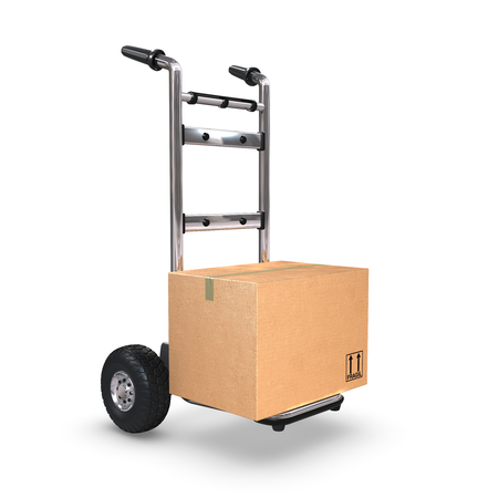 handtruck: A Hand-Truck with a cardboard box on white background standing upright.