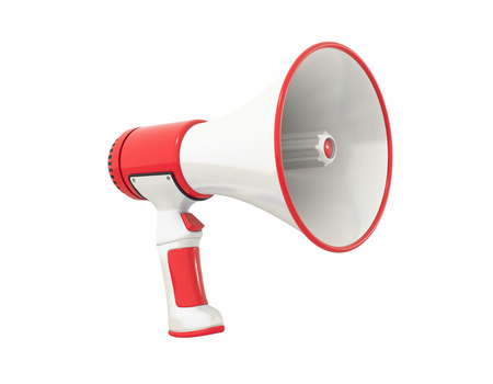 A red Megaphone on a white background, perspective. photo