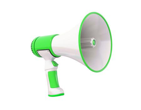 mega phone: A green Megaphone on a white, perspective.