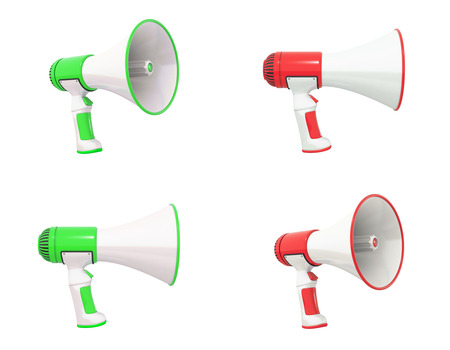 mega phone: A collection of green and red Megaphones displayed in different views.