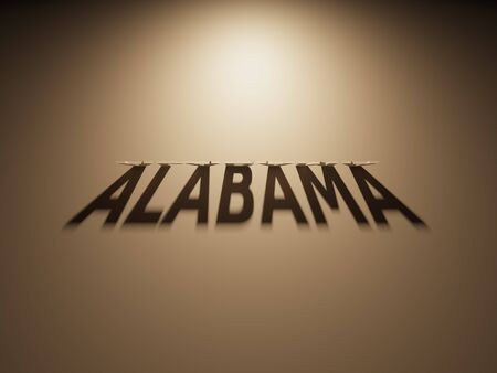 upside down: A 3D Rendering of the Shadow of an upside down text that reads Alabama. Stock Photo