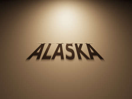 upside down: A 3D Rendering of the Shadow of an upside down text that reads Alaska