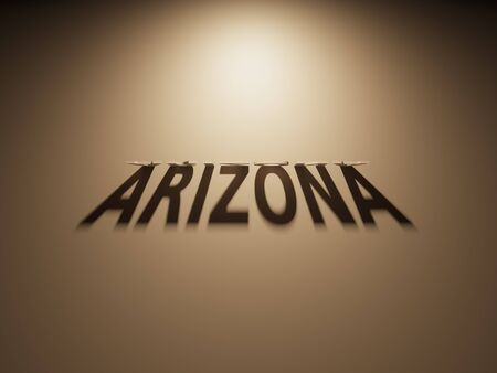 A 3D Rendering of the Shadow of an upside down text that reads Arizona 版權商用圖片