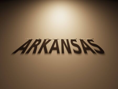 A 3D Rendering of the Shadow of an upside down text that reads Arkansas.