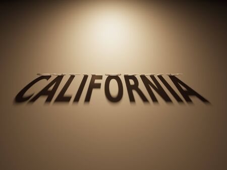 A 3D Rendering of the Shadow of an upside down text that reads California