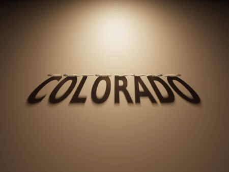 upside: A 3D Rendering of the Shadow of an upside down text that reads Colorado. Stock Photo